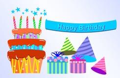 Alles Gute zum Geburtstag mit Geschenkbox und Kuchen Stockbild