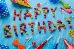 Alles Gute zum Geburtstag, orange Bogen stockfotos