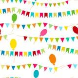 Alles Gute zum Geburtstag, Parteidekor Carnaval nahtloses buntes Muster des Vektors Kinderfestlicher Hintergrund mit hellen Bände Lizenzfreies Stockbild