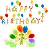 Alles Gute zum Geburtstag sieben Lizenzfreie Stockfotos