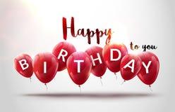 Alles Gute zum Geburtstag steigt Feier im Ballon auf Geburtstagsfeierdekorationsdesign Festliche baloons, die Schablone beschrift Lizenzfreies Stockbild