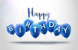 Alles Gute zum Geburtstag steigt Feier im Ballon auf Geburtstagsfeierdekorationsdesign Festliche baloons, die Schablone beschrift Stockbild