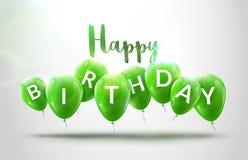 Alles Gute zum Geburtstag steigt Feier im Ballon auf Geburtstagsfeierdekorationsdesign Festliche baloons, die Schablone beschrift Lizenzfreie Stockfotografie