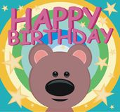 Alles Gute zum Geburtstag - Teddybär - Regenbogen lizenzfreie abbildung