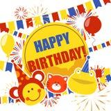 Alles- Gute zum Geburtstagausweisfahne, Plakatvektorillustration Ballone, Gruß, Katze, Geschenk, Geschenk, Frosch, Affe, bunt vektor abbildung