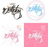 Alles- Gute zum Geburtstagbürsten-Skript-Art-Handbeschriftung Kalligraphische Phrase SAT lizenzfreie abbildung