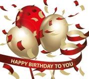 Alles- Gute zum Geburtstagballonkonfettihintergrund Stockbild