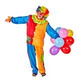 Alles Gute zum Geburtstagclown, der ein Bündel Ballone anhält Lizenzfreie Stockfotos