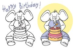 Alles- Gute zum Geburtstagelefant brennt heraus Kerzen auf Kuchen durch Stockbilder