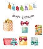 Alles- Gute zum Geburtstagelementsatz des Aquarells Handgemalte Illustration mit Quastengirlande, alles- Gute zum Geburtstagbesch vektor abbildung