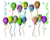 Alles- Gute zum Geburtstagfahne für Parteien, Wünsche auf Weißrückseitenboden lizenzfreie abbildung