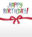 Alles- Gute zum Geburtstagfarbband-Bogen Lizenzfreies Stockfoto