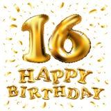 Alles- Gute zum Geburtstagfeier des Vektor-16 mit Goldballonen und bunten Konfettis, Funkeln Design der Illustration 3d für Ihren Stockfotos