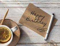 Alles- Gute zum Geburtstagfeier-Glückwunsch-Partei-Konzept HBD Stockbild