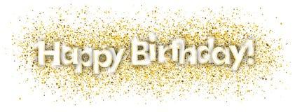 Alles- Gute zum Geburtstaggoldene Konfettis stock abbildung