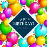 Alles Gute zum Geburtstaggrußkarte Bündel bunte Ballone und Konfettis Stilvolle Beschriftung auf Hintergrund Vektor vektor abbildung
