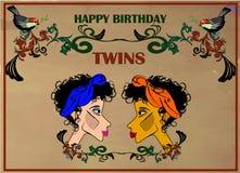 Alles- Gute zum Geburtstaggrußkarte für Zwillinge Stockfoto
