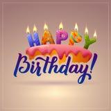 Alles Gute zum Geburtstaggrußkarte Kuchen mit Kerzen Stockbilder