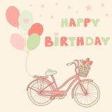 Alles- Gute zum Geburtstaggrußkarte mit Fahrrad, Ballonen und Korb Stockfotos