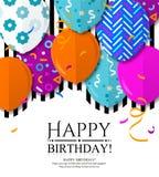 Alles- Gute zum Geburtstaggrußkarte mit kopierten Ballonen in der flachen Art Konfettis und schwarze Streifen auf Hintergrund Vek stock abbildung