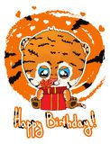 Alles- Gute zum Geburtstaggrußkarte mit nettem Karikaturtigerjungem Lizenzfreies Stockbild