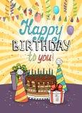 Alles- Gute zum Geburtstaggrußkarte oder -einladung lizenzfreie abbildung