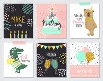Alles- Gute zum Geburtstaggrußkarten und Parteieinladungsschablonen, Illustration Hand gezeichnete Art Lizenzfreie Stockfotos