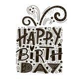 Alles- Gute zum Geburtstaggrußkartenbeschriftung Hand gezeichnete Einladung Guten Rutsch ins Neue Jahr Feiertext handschrift vektor abbildung