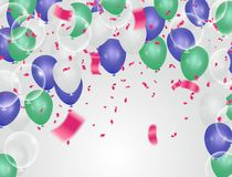 Alles- Gute zum Geburtstaggrußkartenschablone mit festlichem Farbe-confett vektor abbildung