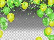 Alles- Gute zum Geburtstaggrußkartenschablone mit festlichem Farbe-confett stock abbildung