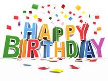 Alles Gute zum Geburtstaghintergrund mit Confetti Stockfotografie
