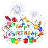 Alles- Gute zum Geburtstaghintergrund mit Feuerwerk Lizenzfreies Stockbild