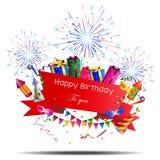 Alles- Gute zum Geburtstaghintergrund mit Feuerwerk Lizenzfreies Stockfoto
