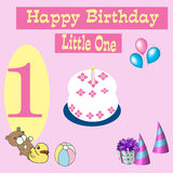 Alles- Gute zum Geburtstagkarte 1 Einjahres Lizenzfreies Stockfoto