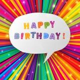 Alles Gute zum Geburtstagkarte auf buntem Strahlhintergrund Stockfotografie