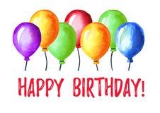 Alles Gute zum Geburtstagkarte Bunte Ballonzusammensetzung Gezeichnete Illustration des Aquarells Hand lokalisiert auf weißem Hin Lizenzfreies Stockfoto