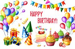 Alles Gute zum Geburtstagkarte Gezeichnete Illustration des Aquarells Hand, lokalisiert auf weißem Hintergrund Lizenzfreie Stockfotos