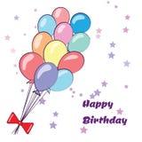 Alles- Gute zum Geburtstagkarte mit Ballonen Stockfoto