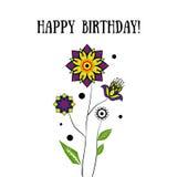 Alles Gute zum Geburtstagkarte mit Blumen Lizenzfreie Stockfotografie