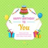 Alles Gute zum Geburtstagkarte Sechseckiges Feld mit Kuchen-, Ballon- und Geschenkboxillustration Stockbilder