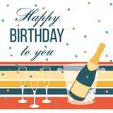 Alles Gute zum Geburtstagkarte Sektflasche und Gläser Lizenzfreies Stockbild