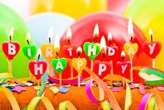 Alles Gute zum Geburtstagkerzen Lizenzfreie Stockbilder