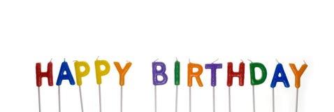 Alles Gute zum Geburtstagkerzen, unlit, getrennt auf Weiß Stockfotografie