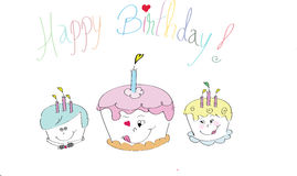 Alles- Gute zum Geburtstagkuchen Lizenzfreie Stockbilder