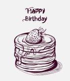 Alles- Gute zum Geburtstagkuchen Vektorlinie Kunst Alte Effektweinlese-Artnachtische lizenzfreie abbildung