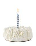Alles- Gute zum Geburtstagkuchen Whit eine blaue Kerze Stockbild