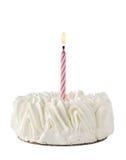 Alles- Gute zum Geburtstagkuchen Whit eine rosafarbene Kerze Lizenzfreies Stockfoto