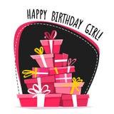 Alles- Gute zum Geburtstagmädchenzeichenparteikarteneinladungs-Datumsschablone, Kalligraphiehandgezogene Beschriftung und neue Ar lizenzfreie abbildung