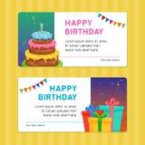Alles- Gute zum Geburtstagmoderne Einladungs-Kartenschablone mit Geburtstags-Kuchen-und Geschenkbox-Illustration vektor abbildung