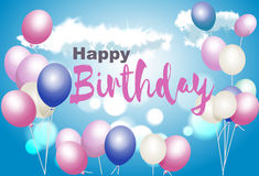 Alles- Gute zum Geburtstagpostkarte Mit Ballonen auf einem Hintergrund des blauen Himmels Lizenzfreie Abbildung